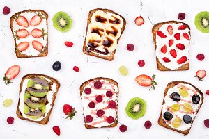 Toasts for healthy breakfast