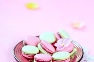 Colored (pink and green) Macarons