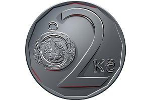 vector Money two czech crones coin reverse