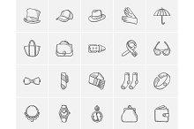 Accessories sketch icon set.