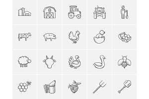 Agriculture sketch icon set.