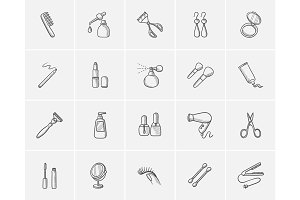 Beauty sketch icon set.