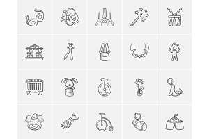 Circus sketch icon set.