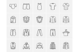 Clothes for men sketch icon set.
