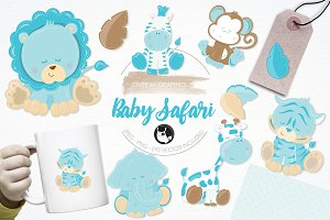 Baby boy safari illustration pack