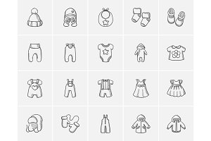 Baby clothes sketch icon set.