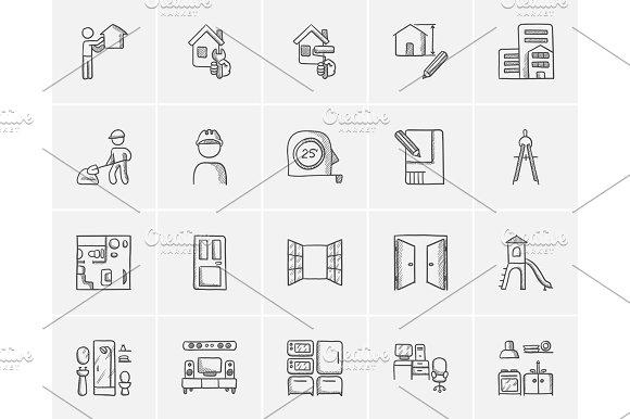Construction Sketch Icon Set