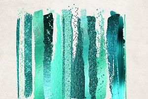 Aqua Teal Glam Paint Strokes
