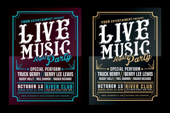 Live Music Typography Poster Flyer Flyer Templates on Creative – Typography Flyer