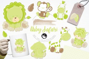 Baby safari illustration pack