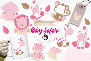 Baby girl safari illustration pack