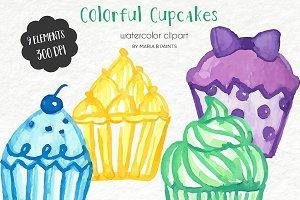 Watercolor Clip Art - Color Cupcakes