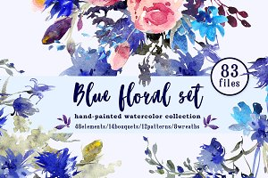 Blue floral watercolor set