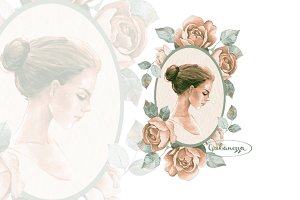 Romantic girl. Vintage vignette