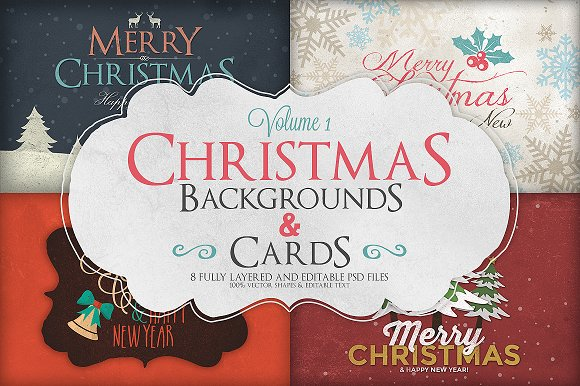 Christmas Background Cards Vol 1 Card Templates Creative Market