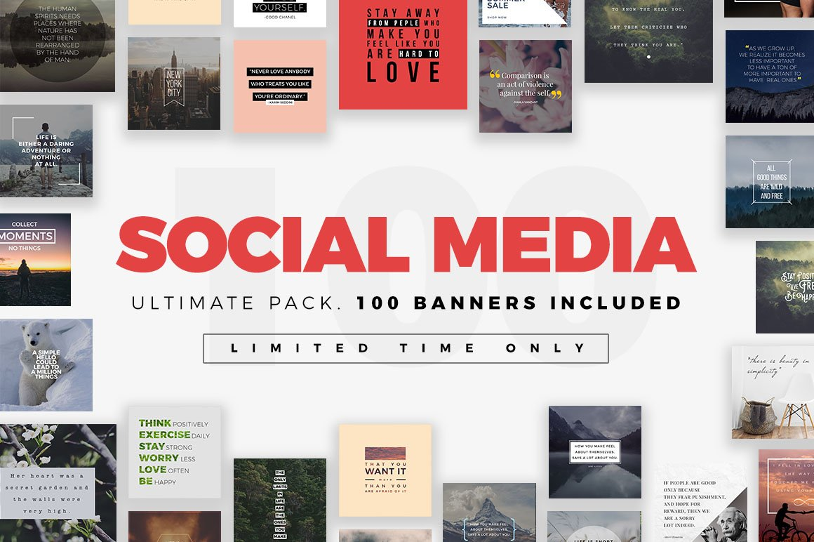 Ultimate social media bundle instagram templates creative market for Social media templates psd