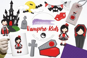 Vampire kids illustration pack