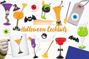 Halloween cocktail illustration pack