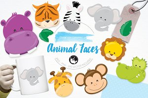 Animal faces illustration pack