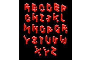 red isometric font voxel pixel isometric letters isometric alphabet pixel art font red