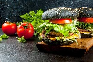 Freshly black burgers