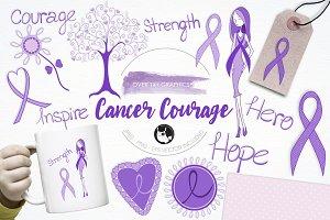 Cancer courage illustration pack