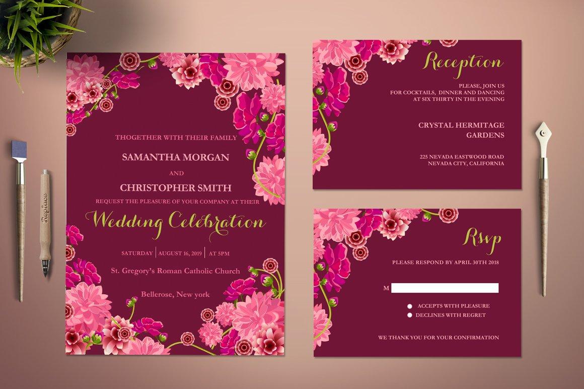 Flower Wedding Invitation Template ~ Invitation Templates ~ Creative ...