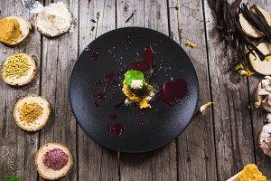 Molecular modern cuisine dessert