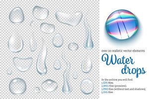 Water Drops Realistic Set