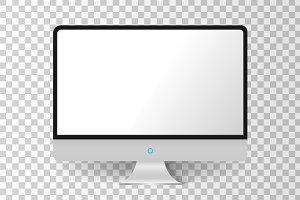 Realistic mettalic modern TV monitor