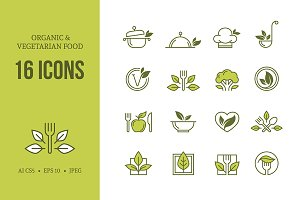 Organic & vegetarian food icons set