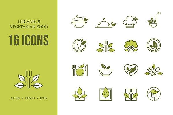 Organic & vegetarian food icons set