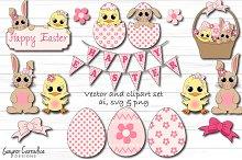 Cute Easter vector & clipart set