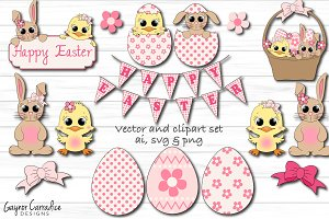 Cute Easter vector & clipart set