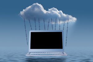 Cloud computing concept illustration with laptop
