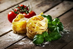 Tasty beautiful pasta with tomatoes