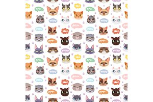 Cats vector heads illustration seamless pattern