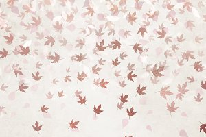 Rose Gold Leaf Confetti Overlays