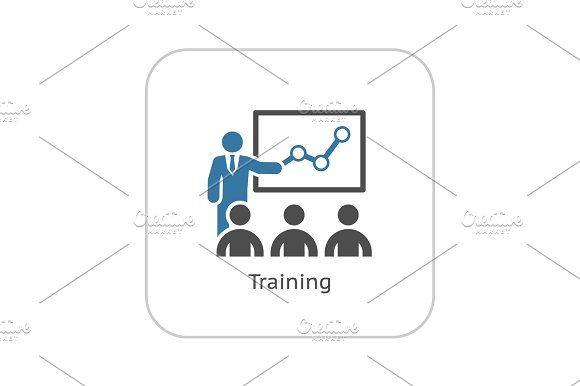Training Icon Business Concept Flat Design