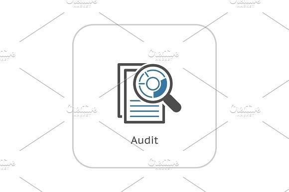 Flat Audit Business Icon Concept