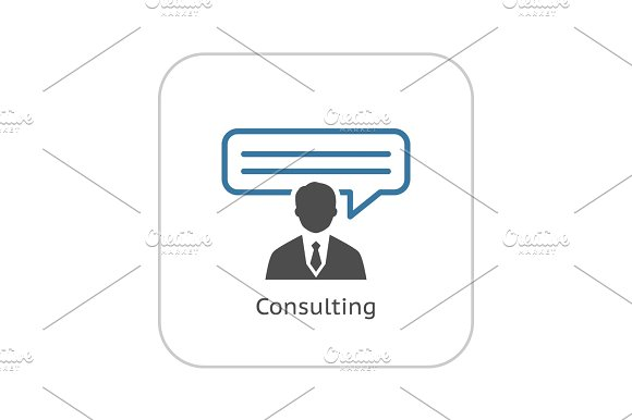 Consulting Icon. Business Concept. Flat Design.