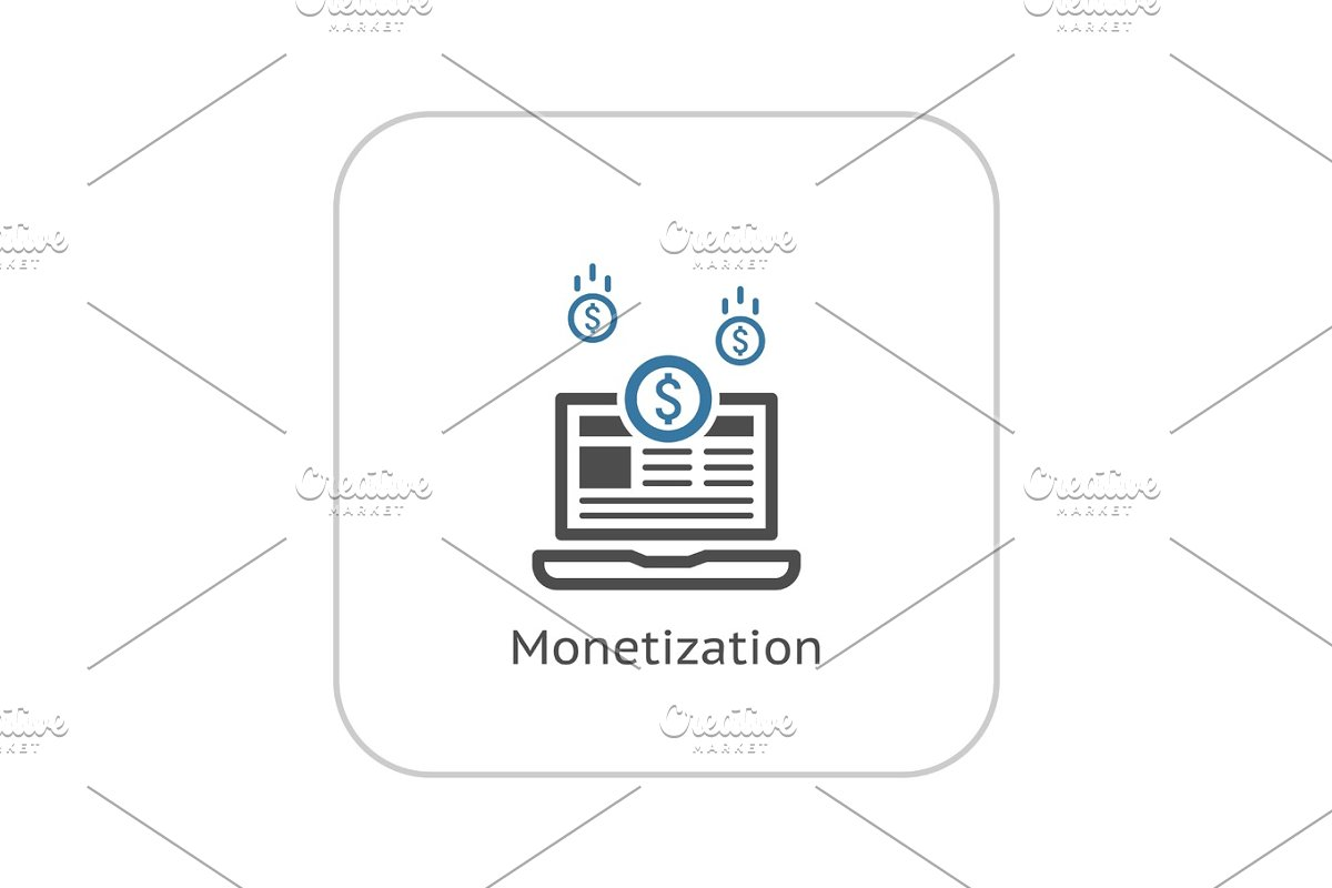 Monetization Icon. Business Concept. Flat Design. in Objects