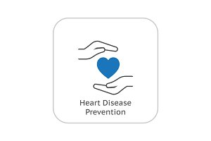 Heart Disease Prevention Icon. Flat Design.