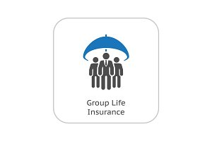 Group Life Insurance Icon. Flat Design.