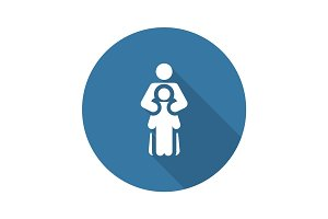 Child Life Protection Icon. Flat Design.
