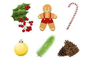 Cristmas Set with traditional realistic cartoon food and things, gingerbread man, candy, branch, christmas ball, berries