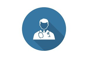 Doctor Icon. Flat Design.