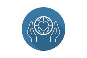 Global Health Assistance Icon. Flat Design.