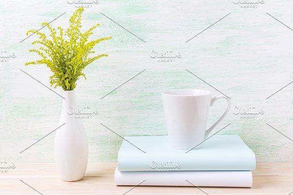 White coffee latte mug mockup