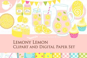 Lemonade Clipart+Pattern set